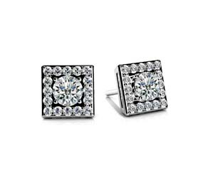 Diamond Centered Square Stud Designer Earrings