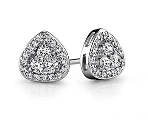Triangular Diamond Stud Earrings
