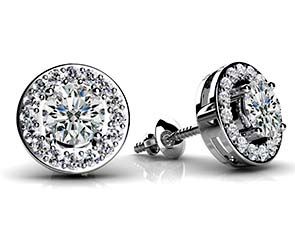 Round Diamond Centered Circle Stud Earrings