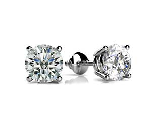 4 Prong Wired Basket Diamond Stud Earrings