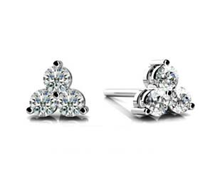 3 Stone Cluster Diamond Stud Earrings