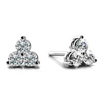 3 Stone Cluster Diamond Stud Earrings 1/3 Carat Total Weight