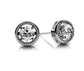 Circle Housed Diamond Stud Earrings