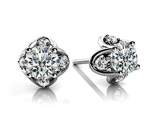 Designer 4 Prong Accented Diamond Stud Earrings