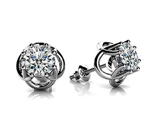 Woven Prong Diamond Stud Earrings