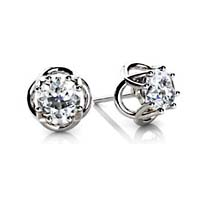 Woven Prong Diamond Stud Earrings 1/2 Carat Total Weight