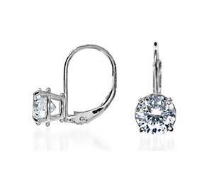 Basket On Leverback Diamond Stud Earrings