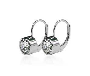 Bezel on Leverback Diamond Stud Earrings