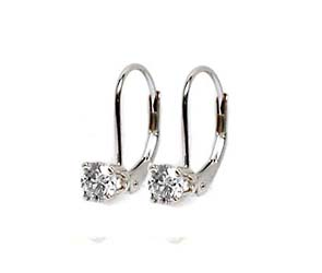 Prong on Leverback Diamond Stud Earrings