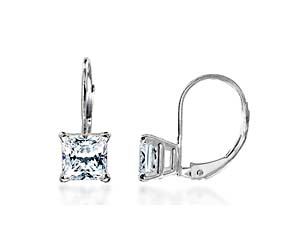 Princess Cut on Leverback Diamond Stud Earrings