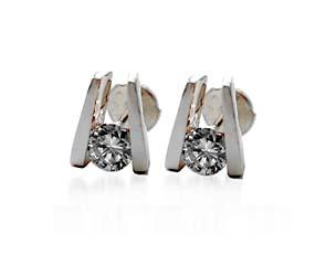 Single Bar Channel Set Diamond Earrings