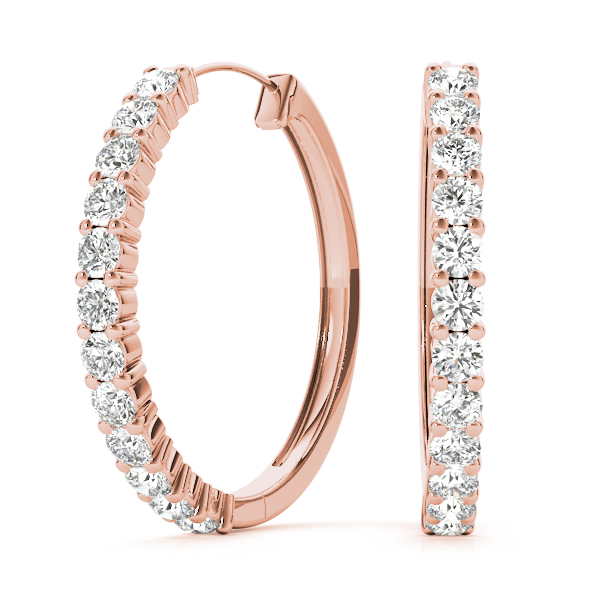 Shared Prong Hoop Earrings 1/4 Carat Total Weight