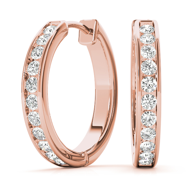 Channel Set Diamond Hoop Earrings 1/2 Carat Total Weight