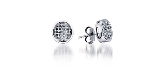 Micro Pave Diamond Earrings .15 Carat Total Weight .15 Carat Total Weight