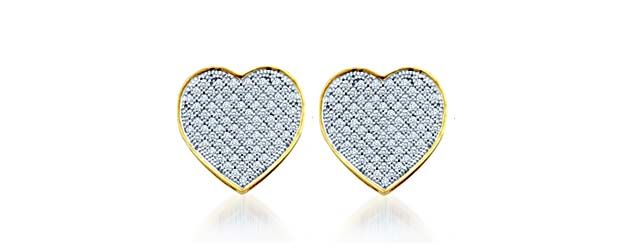 Diamond Heart Earrings .05 Carat Total Weight 0.05 Carat Total Weight