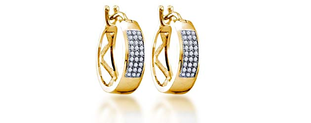 Micro Pave Hoop Diamond Earrings .16 Carat Total Weight 0.16 Carat Total Weight