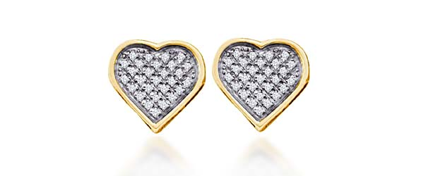 Diamond Heart Earrings .15 Carat Total Weight .15 Carat Total Weight