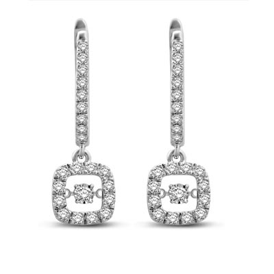 Moving Diamond Dangler Earrings 5/8 Carat Total Weight