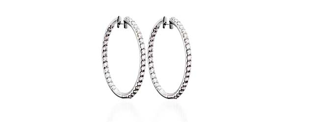 Prong Set Inside/Outside Diamond Hoop Earrings 1/2 Carat Total Weight
