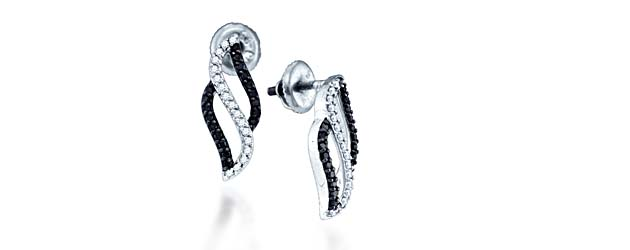Ladies Micro Pave Diamond Earrings 1/3 Carat Total Weight 0.34 Carat Total Weight