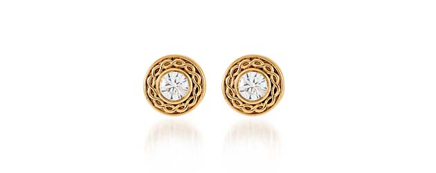 Roped Accent Bezel Diamond Earrings 1 5 Carat Total Weight