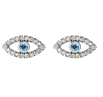 Aquamarine Eye Style Diamond Earrings 1/4 Carat Total Weight