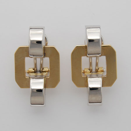 14K Yellow Gold / White Gold Square Stampato Earrings