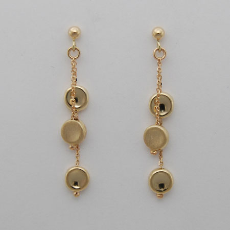 14K Yellow Gold Double Strand Concave Disc Earrings