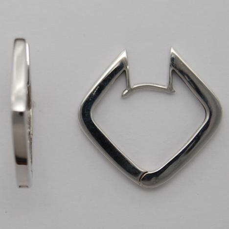 14K White Gold Huggie Style Earrings
