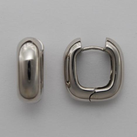 14K White Gold Huggie Style Puffy Square Earrings