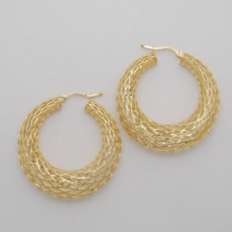 14K Yellow Gold Large Graduated Weave Hoop Earrings