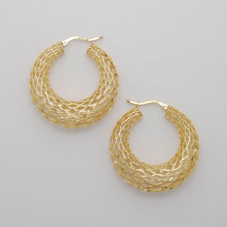 14K Yellow Gold Medium Graduated Weave Hoop Earrings