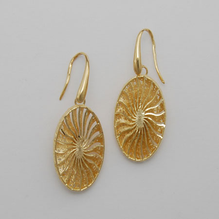 14K Yellow Gold Oval Sunburst Earrings