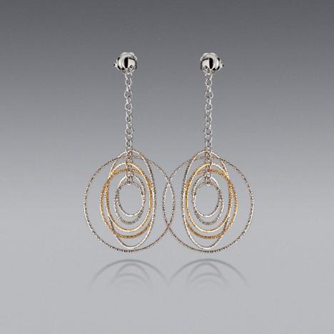 14K Yellow & White Gold Large Round Orbit Earrings