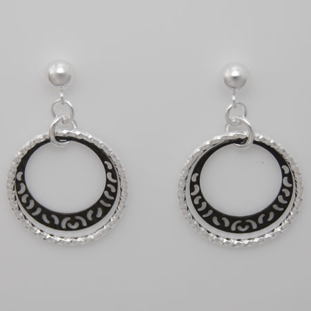 Sterling Silver Ring Earrings, Black Rhodium Filigree Ring