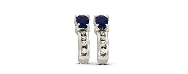 Genuine Sapphie and Diamond Earrings 3/4 Carat Total Weight