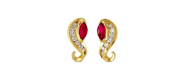 Ruby Marquise and Diamond S Shape Earrings 1.3 Carat Total Weight