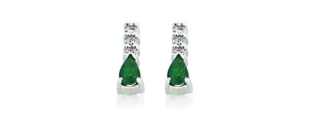 Genuine Emerald Pear Shape Diamond Earrings 5/8 Carat Total Weight