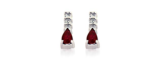 Genuine Pear Shape Ruby And Diamond Earrings 3 4 Carat Total Weight