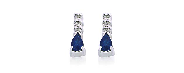 Genuine Pear Shape Sapphire and Diamond Earrings 3/4 Carat Total Weight