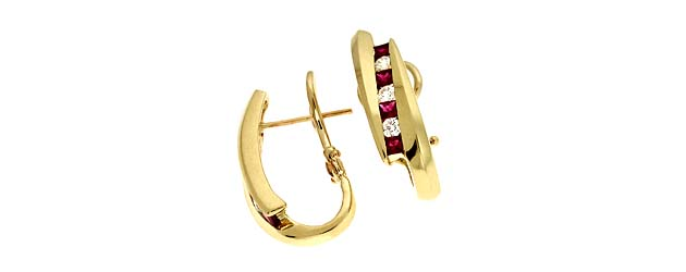 Genuine Princess Cut Ruby and Diamond Earrings 1.41 Carat Total Weight