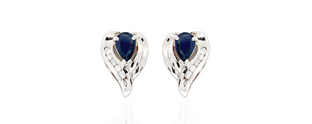 Sapphire and Diamond Earrings 1.11 Carat Total Weight