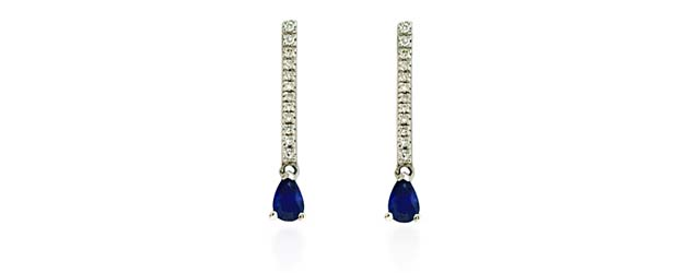 Pear Shape Sapphire & Diamond Drop Earrings 1.17 Carat Total Weight