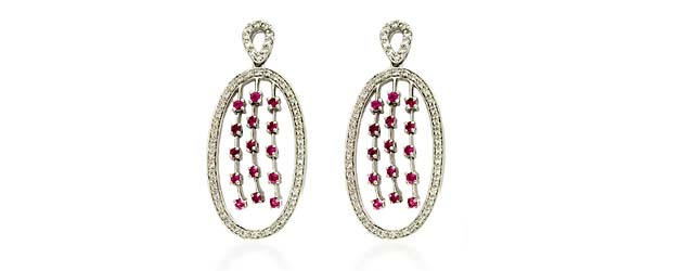 Pink Sapphire Water Fall & Diamond Earrings 1.5 Carat Total Weight