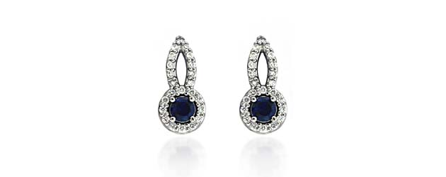 Designer Blue Sapphire and Diamond Earrings 2.08 Carat Total Weight