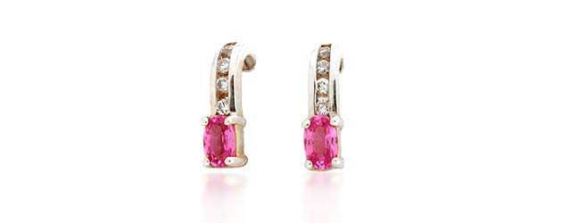 Pink Sapphire and Diamond Earrings 0.79 Carat Total Weight