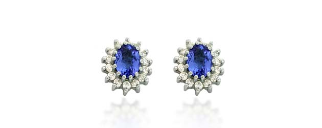 Tanzanite Diamond Accented Flower Earrings 2.36 Carat Total Weight