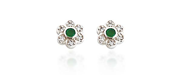 Center Emerald and Diamond Earrings 1.75 Carat Total Weight