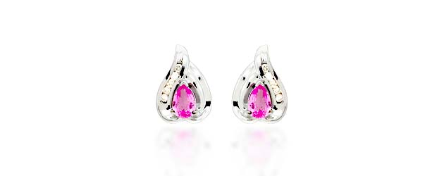 Pink Sapphire Pear Cut Diamond Earrings 1.14 Carat Total Weight