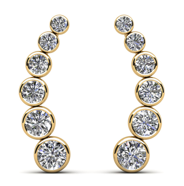 Bezel Set Diamond Journey Earrings 2.0 Carat Total Weight